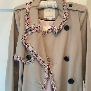NWT Kate Spade Trench coat with tweed
